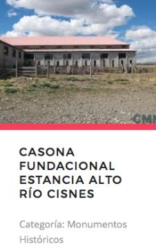 Casona Fundacional Estancia Alto Río Cisnes. Fuente: Monumnetos.cl